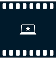 Flat paper cut style icon of laptop vector image