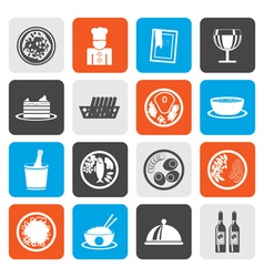 Flat Restaurant food and drink icons vector