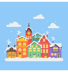 Flat style of christmas winter city vector