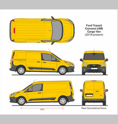 Ford transit connect lwb cargo 5 doors van 2018 vector