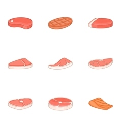 Fresh meat fish icons set cartoon style vector image