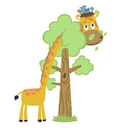 Funny animals cartoon bird neat on giraffes head vector