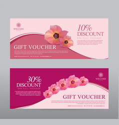 gift voucher for spa hotel resort flowers vector image