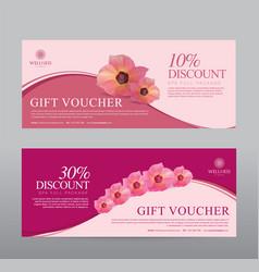 Gift voucher for spa hotel resort flowers vector
