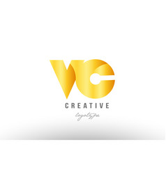 Gold golden metal gradient vc v c alphabet letter vector