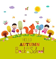Goodbye summer enjoy autumn happy smiling girls vector