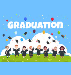 Graduate kids background children wearing in vector
