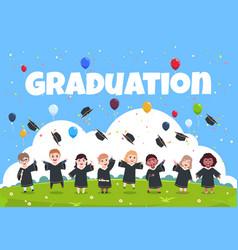 Graduate kids background children wearing vector