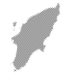 Halftone gray greek rhodes island map vector