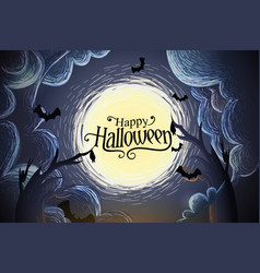 happy halloween background with full moon vector image
