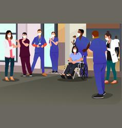 Healthcare workers applauding recovered patient vector