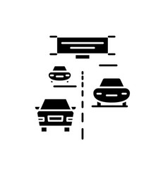 highway black icon sign on isolated vector image