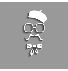 hipster in beret paper silhouette vector image