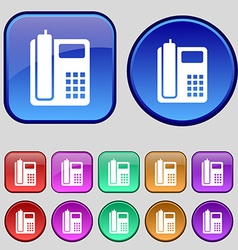 Home phone icon sign A set of twelve vintage vector