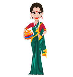 Indian girl with pot vector
