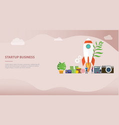 launch startup business concept with rocket and vector image