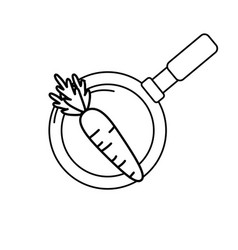 Line carrot vegetable inside skillet pan vector