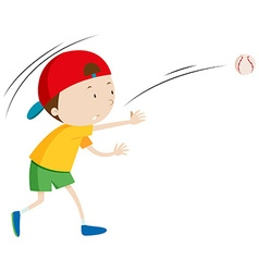 Little boy throwing ball vector image