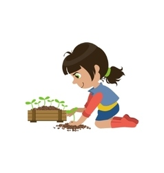 Little Girl Gardening vector