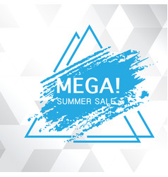 mega summer sale blue paint triangle frame white b vector image
