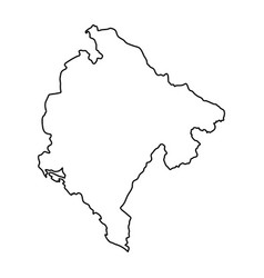 Montenegro map of black contour curves of vector