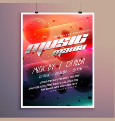 music party event flyer with colorful background vector image