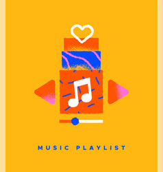 music playlist song cartoon icon concept isolated vector image