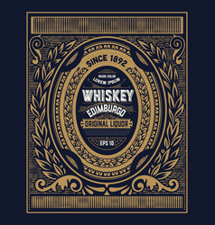 old whiskey label with vintage frame vector image