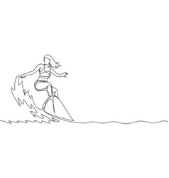 one continuous line drawing young happy tourist vector image