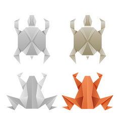 origami paper frogs and turtles vector image