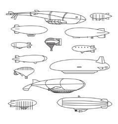 Outline aerostat Set vector