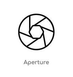 Outline aperture icon isolated black simple line vector
