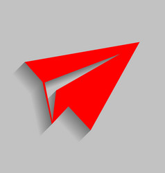 paper airplane sign red icon with soft vector image
