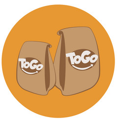paper bags with fast foodtake away cafe logo vector image