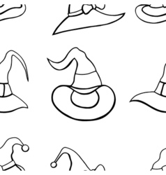 Pattern with witch hats vector
