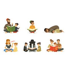 People different religions collection families vector