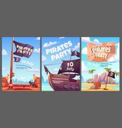pirates party kids adventure cartoon posters set vector image