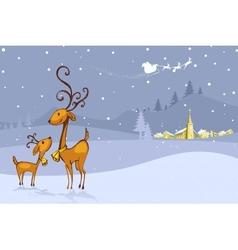 Reindeer in Christmas Night vector image