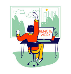 Remote working activity relaxed business woman or vector