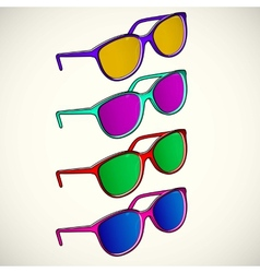 Retro sun glasses summer plastic lens color vector image