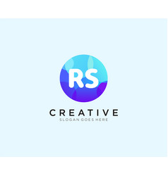 Rs initial logo with colorful circle template vector