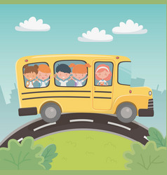 School bus transport with group kids in the vector