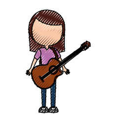 Scribble women guitar cartoon vector