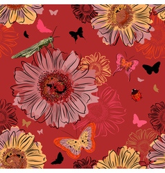 Seamless Red Floral Wallpaper with Insects vector