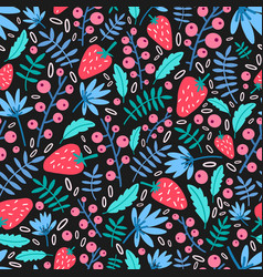Seasonal seamless pattern with garden strawberries vector