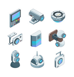 secure cam isometric cctv home security cameras vector image