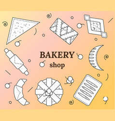 Set bakery and pastry products in outline vector