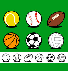 set colored cartoon sports ball icons vector image