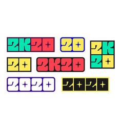 set new year 2020 stickers vector image