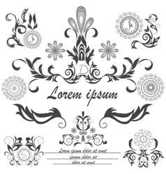 Set of decorative logos floral ornament style vector image